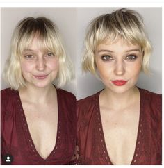 My second model from Bayou Saint Blonde this weekend I'm Nola. I know the stage makeup is so dramatic it makes her look… Short Hair With Bangs, Hairstyles With Bangs, Pretty Hairstyles, Short Hair Styles, Hair Bangs, Bride Hairstyles, Hairstyle Ideas, Updo Hairstyle, Thin Hair