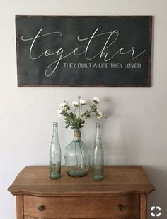 And so together they built a life they loved - valentines gifts - love signs - big wood signs - newlywed gift - bedroom decor - large wall art Room Crafts Love Valentines, Valentine Day Gifts, Apartment Decoration, Kitchen Chalkboard, Chalkboard Ideas, Black Chalkboard, Decoration Entree, Foyer Decorating, Decorating Ideas