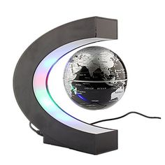 Xin store C Shape Magnetic Levitation Floating 3 Inches Globe World Map with LED Light for Home & Office Decoration, Learning & Teaching (Silver/Black) Cool Office Gadgets, Cool Gadgets For Men, High Tech Gadgets, Led Decoration, Floating Globe, Magnetic Levitation, Lumiere Led, Thing 1, Night Light