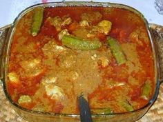 Traditional Muamba de Ginguba (Chicken peanut stew), Angola...