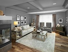 Cool grey walls in the living room