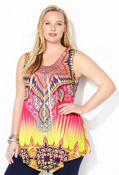 Bright Medallion Asymmetrical Tank-Plus Size Tank-Avenue
