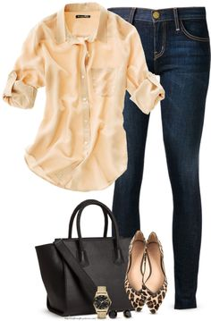 Casual chic in a breezy blouse with dark jeans and leopard flats