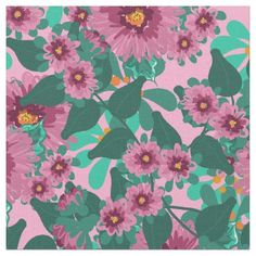 Pink and Aqua Floral Pattern Fabric  $24.80  by Cheries_Art  - cyo customize personalize unique diy