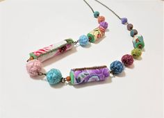 Textile Long Necklace. Boho. Handmade Beads. Fabric and Wool