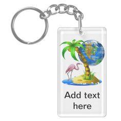 Flamingo Earth Key Chain Rectangle Acrylic Key Chains
