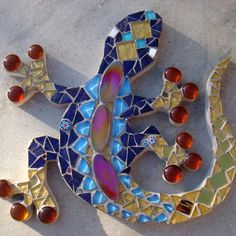 Funky Mosaics ~ Funky Mosaic Gecko Lizard Wall Plaque Blue and Gold £29.00    No…