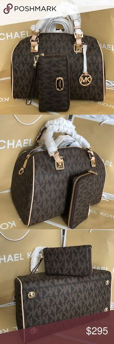 🌴Michael Kors Set Large Size🌴 100% Authentic Michael Kors Bag Crossbody and Wallet, brand new!.😍😍😍color Brown. Large Size!.❤️ Michael Kors Bags Crossbody Bags