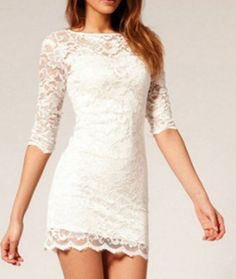 Skin tight white lace dress