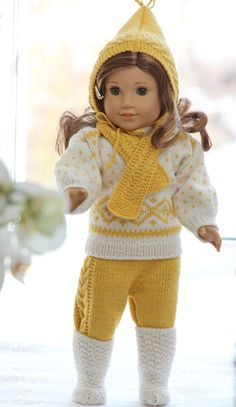 PURCHASED pattern - KNIT - fits AG doll, Baby Born, and other dolls - Gorgeous knitting patterns for dolls dresses Knitting Dolls Clothes, Ag Doll Clothes, Crochet Doll Clothes, Knitted Dolls, Doll Clothes Patterns, Doll Patterns, Knitting Patterns, American Girl Outfits, American Doll Clothes