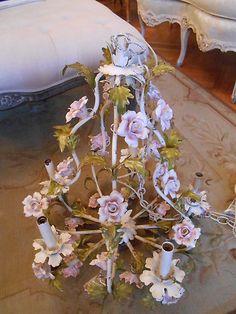 Shabby Antique Vtg Italian Tole Pink Porcelain Roses Flower Chandelier So French | eBay