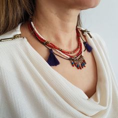 Red Beaded Necklace Tassel Necklace Fringe necklace Boho by Urbe