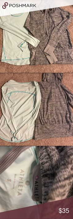 Athleta Small 2 pc bundle Like New Bundle of long sleeve top and jacket Athleta Womens Batwing & Robin Jacket Size S - Grey heather description from Athleta Our favorite, dolman-sleeve jacket with retro sweatshirt.  Athleta Chi Top - Size Small Our signature, ultra-lightweight top w/Unstinkable technology so you can sweat it out in back-to-back workouts, gym/training, yoga. Flattering forward-placed seam lines High-low hem for extra coverage Curved thumbholes keep sleeves in place Athleta…