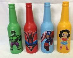 colecao-super-herois-centro-de-mesa Superhero Baby Shower, Hot Sauce Bottles, Holiday Fun, Projects To Try, Marvel, Geeks, Birthday, Party, Teenager Birthday