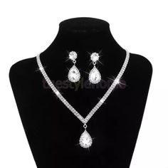 "NWT PROM/Bridal crystal set Metal: alloy& crystal. Color: silver. Necklace and earrings set, teardrop style. Brand new in package. Pictures don't do this justice. Super cute! Perfect for prom, wedding, etc. length: 14.5-20.8"". D&F Jewelry"
