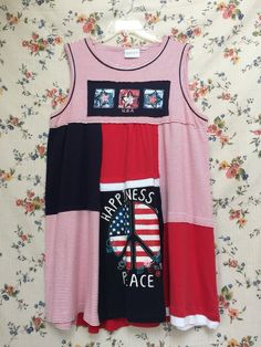 34bb5fabf1c Upcycled Patriotic red white and blue 4th of July Tank Dress Tank Dress