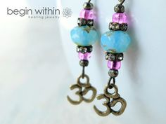 Om Earrings / Yoga Earrings, Boho Earrings / Bronze & Czech Glass / Spiritual Yoga Jewelry