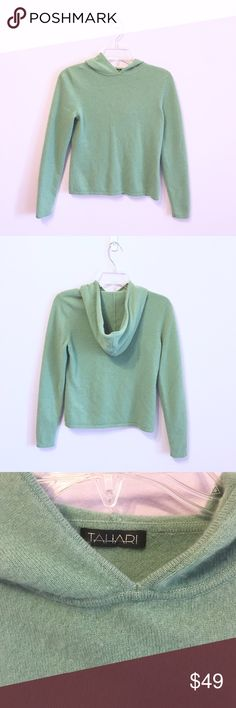 Tahari 100% Cashmere Hooded Sweater Super soft and cozy mint colored hooded sweater. 100% cashmere. True to size. In good condition. Anthropologie Tops Sweatshirts & Hoodies