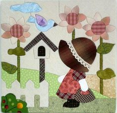 Sunbonnet sue in garden