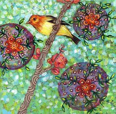 Items similar to Western Tanager with Flowering Quince print on wood on Etsy Art Inspiration, Print, 12x12 Prints, Illusion Art, Art, Mandala Art, Bird Art, Painting, Colorful Backgrounds