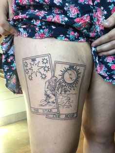 """jon-snow: """"no one will EVER understand me in the way my tattoo artist did when i sent her these two art references and asked her to make me gay tarot cards lol """" Dainty Tattoos, Dope Tattoos, Star Tattoos, Pretty Tattoos, Body Art Tattoos, New Tattoos, Sleeve Tattoos, Sun Moon Tattoos, Hippie Tattoos"""