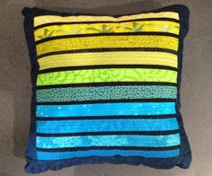 """Quilted pillow. Rainbow of teals and greens. Modern  home decor. 16x16""""  by AnnBrauer"""