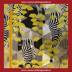 Tela motivo de cebras africanas, doble ancho, corte desde 25cms. Corte desde 25cms x 145cms