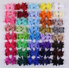 "Wholesales 9/12/16/24/30/40pcs 3"" Girl Solid Grosgrain Ribbon Hair Bows Clip 355 #Handmade"