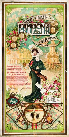 Cartel de los Sanfermines de 1906 - Ferias y fiestas de San Fermín, Pamplona. #Pamplona