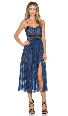 Box pleated Cami Dress in Navy
