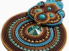 Turquoise Indian NecklaceSoutache Jewelry Brown by RenaTienda