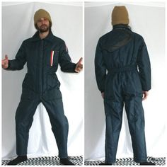 Vintage Snow Suit Mechanic Uniform. Navy Blue Full Body Coveralls. Winter Coveralls Worker Uniform. Adult Snow Suit With A Hood.