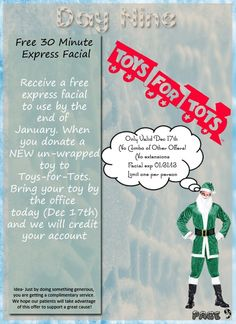 Donate toys to Toys-for-Tots on Dec 17th and receive a free express facial in Tampa, FL #tampa www.mackmd.com