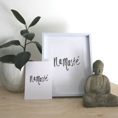 Namaste handwritten type by Kelly Sullivan Single A4 or A5  print on beautiful paper stock A5 :: 14.9 x 21cm A4 :: 21 x 29.7cm Proudly produced in South Australia Please note :: this is for an A5 or A4 print only, this product does not come framed.