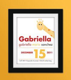 8x10 Custom Giraffe Birth Announcement by SweetNSnappyDesigns, $22.50