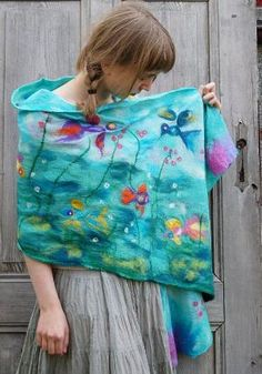 Nuno felted scarf long shawl with fish and birds in by filcAlki, $99.00 by Alice Inwonderland