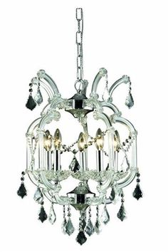 View The Elegant Lighting 2800D12C Maria Theresa 4 Light Single Tier Crystal Chandelier Finished In Chrome With Clear Crystals At Build