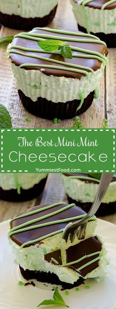 The Best Mini Mint Cheesecake – so easy to make, creamy and cute! Absolutely delicious, The Best Mini Mint Cheesecake with an Oreo crust and only a few ingredients! Use gf cookies Diabetic Desserts, Mini Desserts, Easy Desserts, Dessert Recipes, Mini Cheesecakes With Oreos, Easy Delicious Desserts, Easy Sweets, Cheesecake Desserts, Holiday Desserts