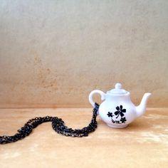 Teapot Necklace. Miniature Floral Tea Pot Necklace Gunmetal Brass Chain. Black & White Alice In Wonderland Tea Time Long Necklace (80.00 ILS) by XenaStyle