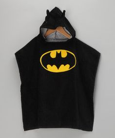Black Batman Terry Hooded Poncho