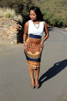 SALE African Print Pencil Skirt African Print by MdyAfricanDesigns