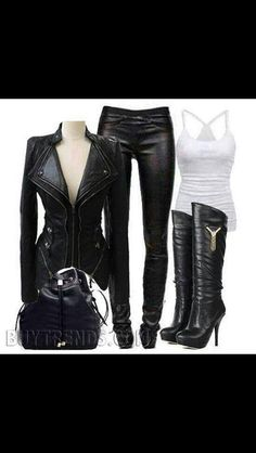Mode - Mode idea & tips Komplette Outfits, Fall Outfits, Casual Outfits, Fashion Outfits, Womens Fashion, Biker Outfits, Moda Rock, Looks Black, Business Outfit