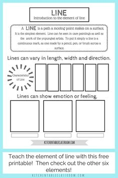 Line in art is an fun and easy place to start teaching art for kids.Teach the element of line & all the elements of art with this series of free printables. Elements Of Art Line, Elements And Principles, Elements Of Design, Middle School Art, Art School, High School, Different Types Of Lines, Types Of Lines Art, Line Art Lesson