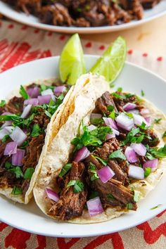 Barbacoa Tacos - MY NOTES: better than Chipotle! I made this for dinner tonight and OMG! I followed the recipe up until the cooking part because I wanted to cook in my #instantpot #pressurecooker. Browned meat and removed, cooked onions, spices and chilis and then blended with stick blender. Put meat back in. Put on MEAT Setting for 45 min and then 15 min NPR. Removed meat and shredded. Put remaining liquid on High Saute until reduced by half, returned meat to pot to reheat. SO GOOD!