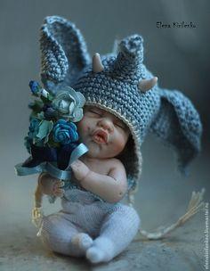 "Купить ""Мамонтенок"" - синий, Кукла-младенец, младенец из пластики, мамонтенок, living doll, хлопок"