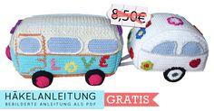 Häkelanleitung (011): Hippie Bus mit Wohnwagen - Häkelanleitungen bei makerist