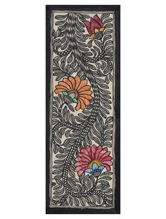 Buy Black Orange Pink White Floral Madhubani Artwork on Handmade Paper paint Art Decorative Online at Jaypore.com