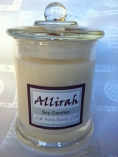 Christmas Candles - Allirah Soy Candles.  Mistletoe Holly Berry  Christmas Pine Hot Baked Apple Pie Hansel and Gretel's Gingerbread House  Candy Cane Chocolate Pudding Vanilla Snowflake