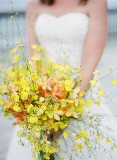 #Yellow #Oncidium #Orchid Bouquet | See the wedding on SMP: http://www.StyleMePretty.com/california-weddings/santa-barbara/2013/03/26/santa-barbara-wedding-at-dos-pueblos-ranch-from-michael-anna-costa/ Michael + Anna Costa