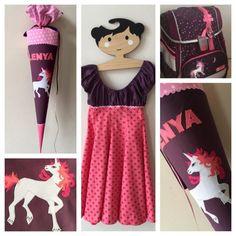 Schulkleid, Kleid passend zu Schultüte, Einhorn, Beerentöne, Schimmel, Pferd
